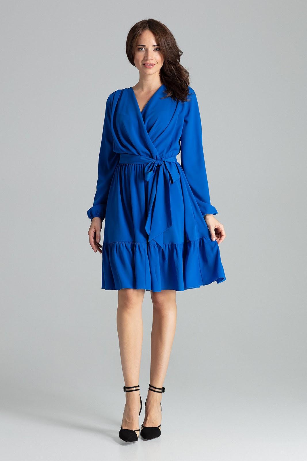 szafirowa sukienka