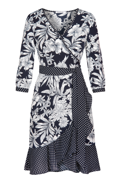 QUIOSQUE sukienka w biało czarne kwiaty