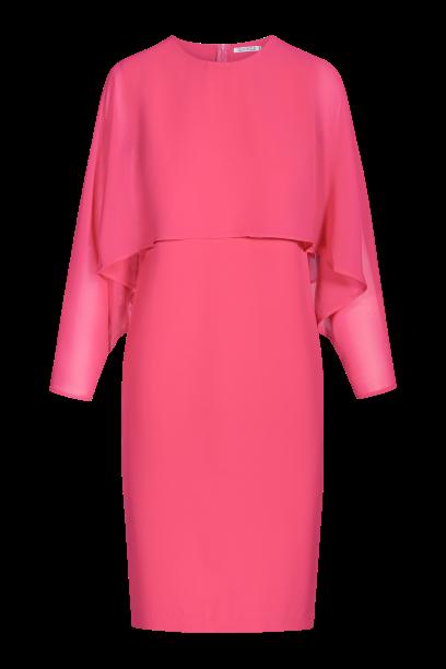 malinowa sukienka o kroju nietoperzowym