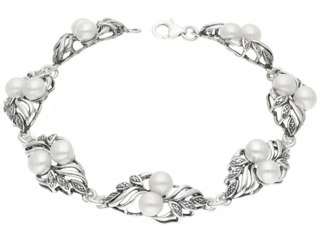 Bransoletka srebrna z perłami Flora