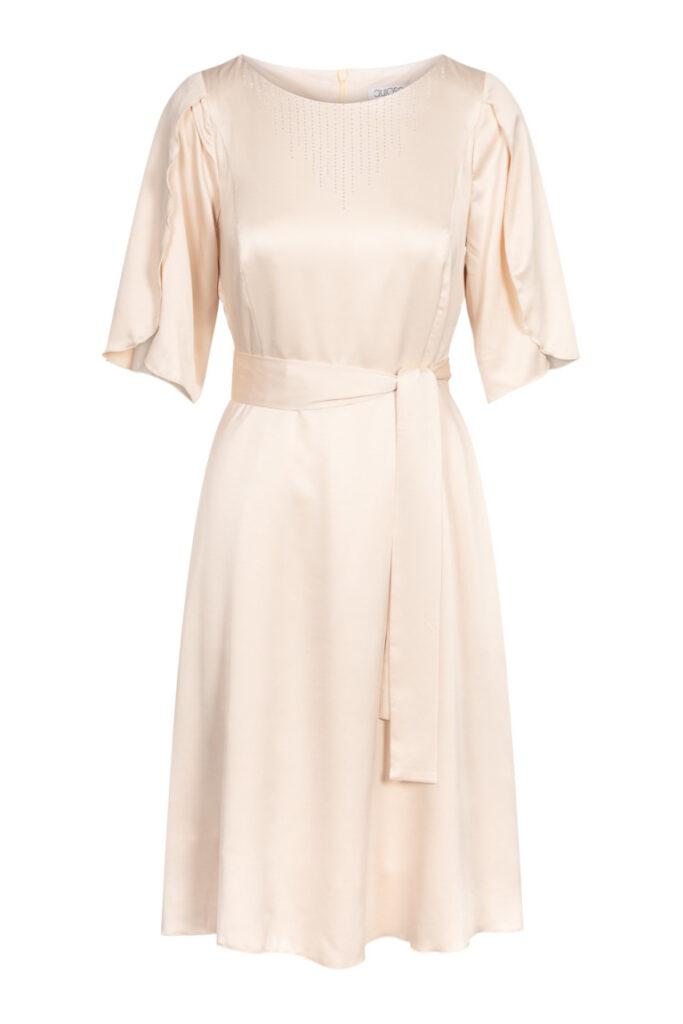 beżowa zwiewna sukienka