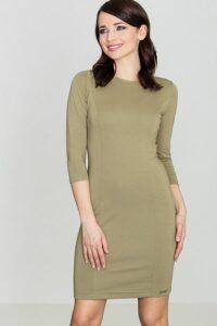 elegancka wizytowa oliwkowa sukienka dopasowana do figury