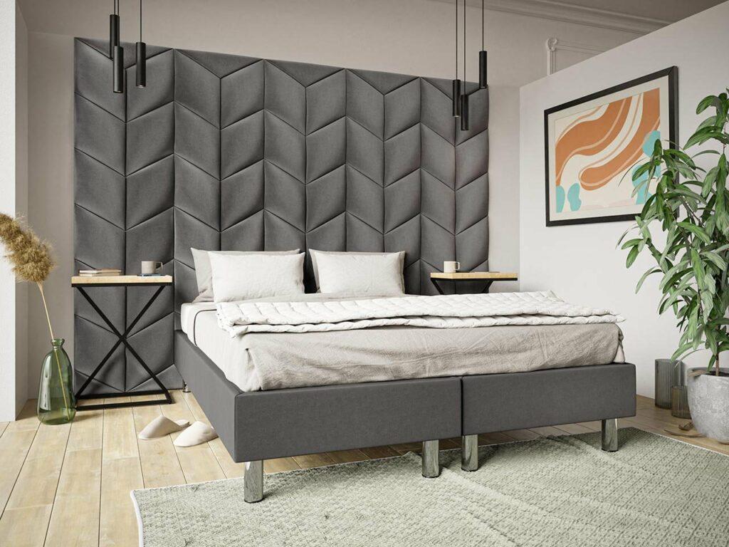 łóżka sypialniane z zagłówkiem z paneli tapicerowanych