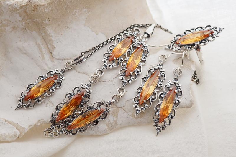 srebrna biżuteria z topazem