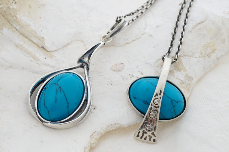 srebrna biżuteria z turkusem